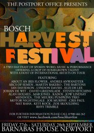 Poster for the BOSCH HARVEST FESTIVAL, a two day festival of spoken word, experimental music and performance, Newport, 2015.