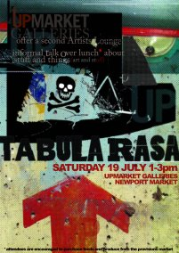 Poster for TABULA RASA, a lunch-based symposium hosted by the UPMARKET GALLERIES.